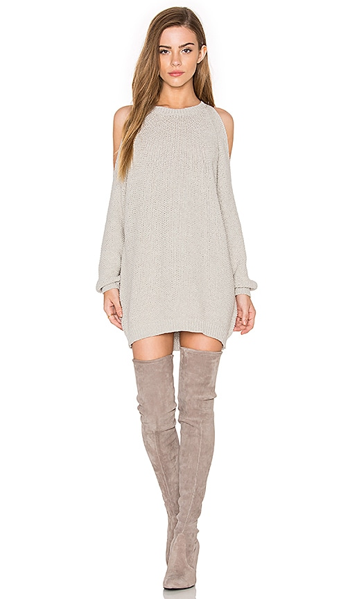 Bishop + Young Cold Shoulder Tunic Sweater in Gray