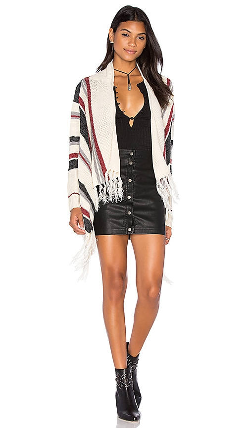Bishop + Young Stripe Fringe Cardigan in Ivory