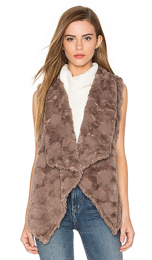 Bishop + Young Repeat Faux Fur Vest in Taupe