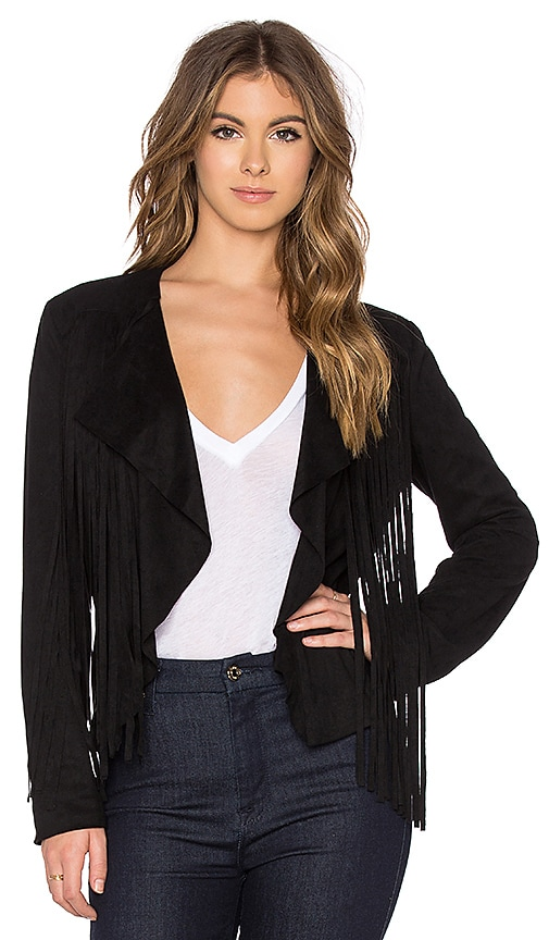 Bishop + Young Fringe Suede Jacket in Black