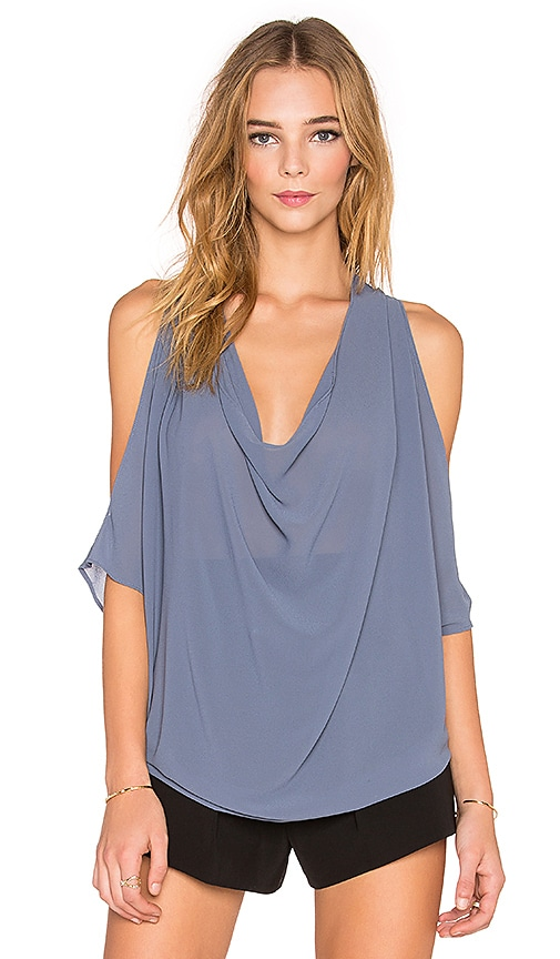 Bishop + Young Ana Cowl Neck Blouse in Blue