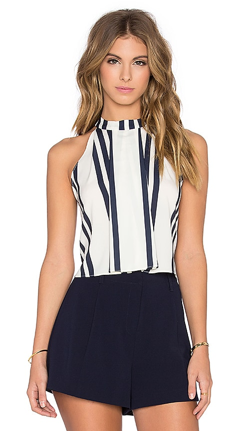 94d1d696314e0 Bishop + Young Striped High Neck Crop Tank in Navy Stripe