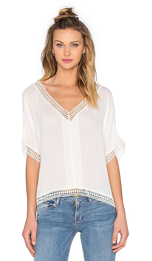 Bishop + Young Embroidered Trim Top in White