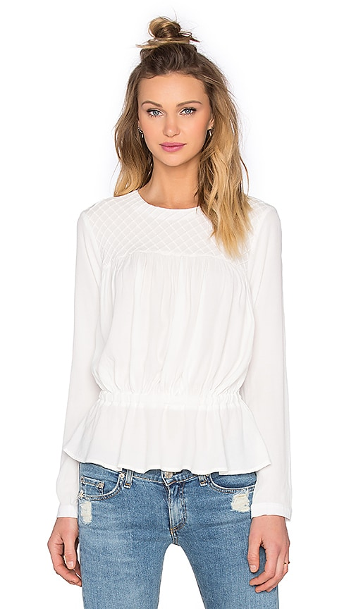 Bishop + Young Pintuck Drop Waist Blouse in Ivory
