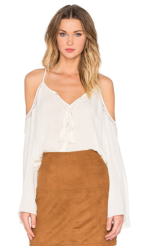 Bishop + Young Cold Shoulder Peasant Blouse in Ivory