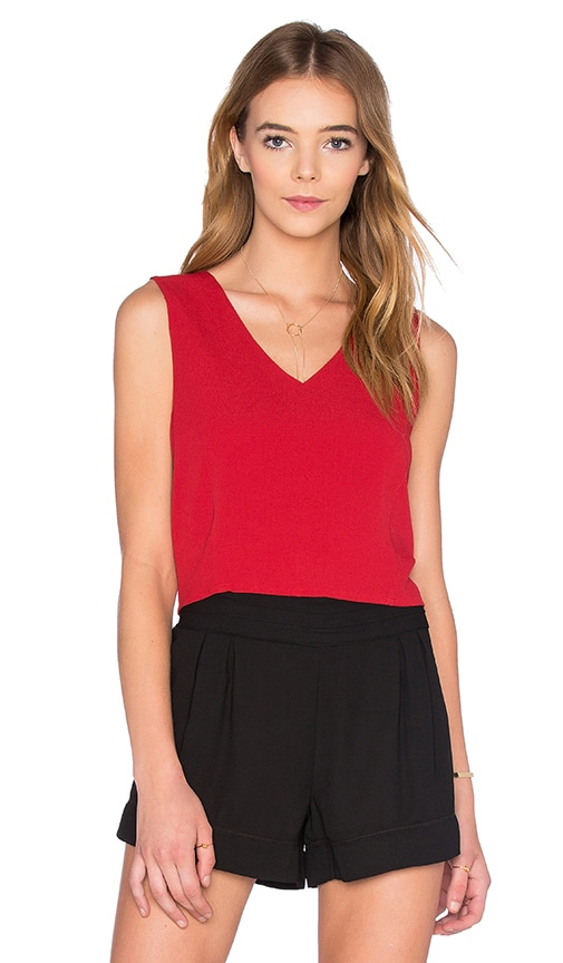 Bishop + Young Rosie Deep V Neck Top in Red