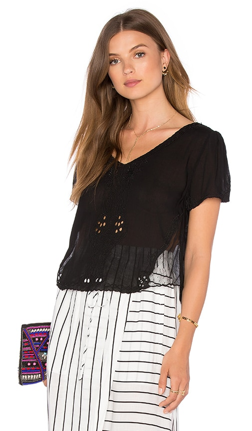 Bishop + Young Mesh Insert Short Sleeve Blouse in Black