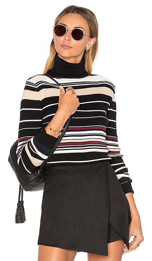 Bishop + Young Striped Rib Knit Turtleneck Top in Black