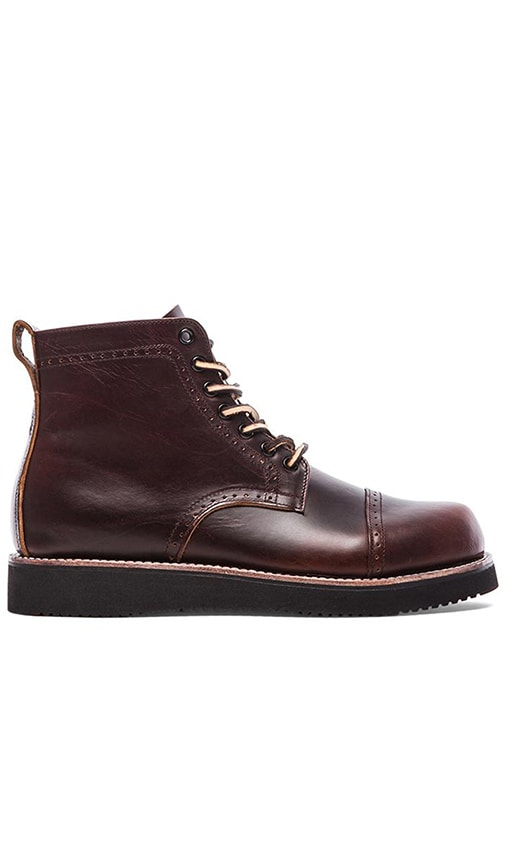 Broken Homme Aaron Perforated Boot in Red Brown Chromexcel
