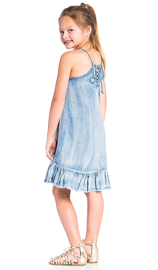 BLANKNYC Ruffle Denim Dress in Next in Next in Line