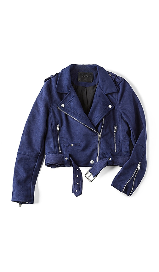 BLANKNYC Moto Suede Jacket in Navy