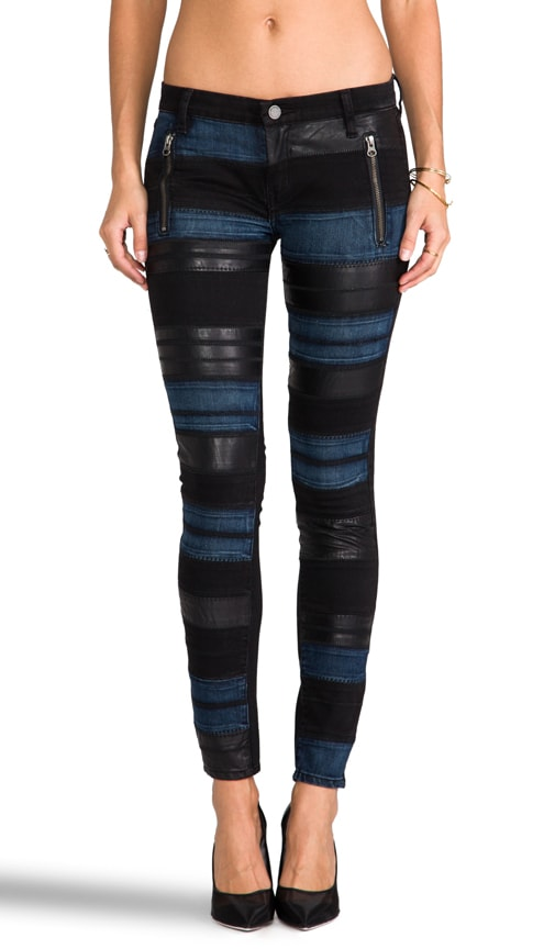Black Denim Pant with Leather and Blue Panels