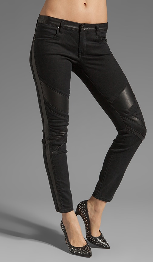 Skinny with Vegan Leather Detail