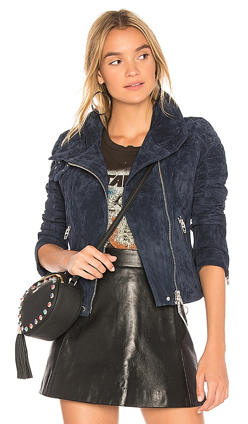 BLANKNYC Suede Moto Jacket in Blue