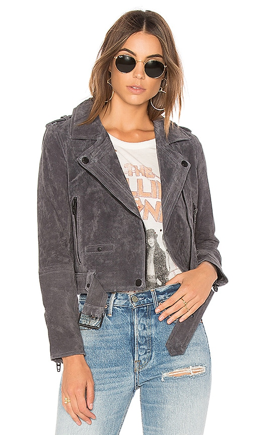 BLANKNYC Suede Moto Jacket in Gray