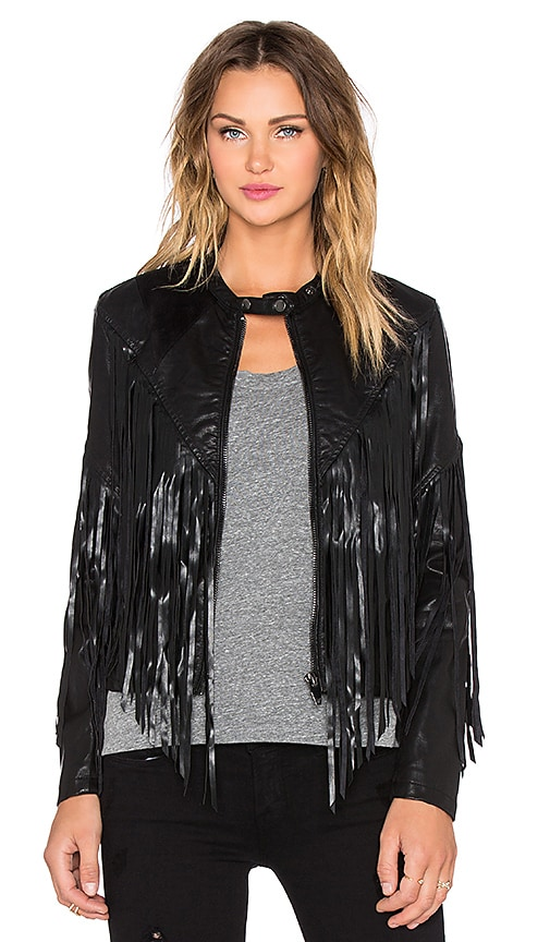 BLANKNYC Fringe Moto Jacket in Hashtag Abuser