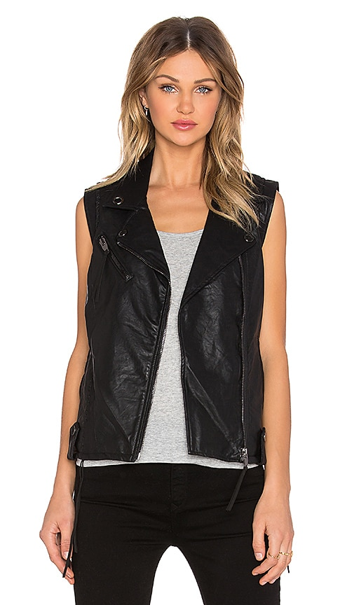 BLANKNYC Fringe Moto Vest in Black