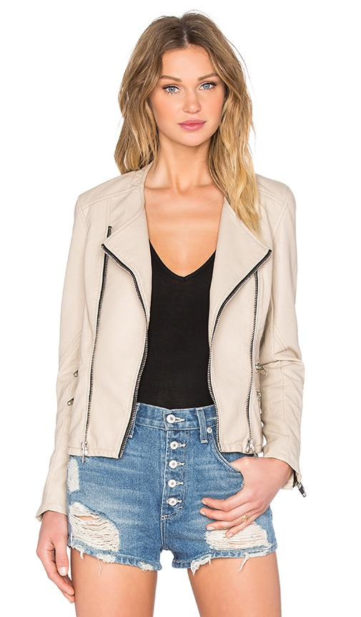 BLANKNYC Zip Moto Jacket in Beige