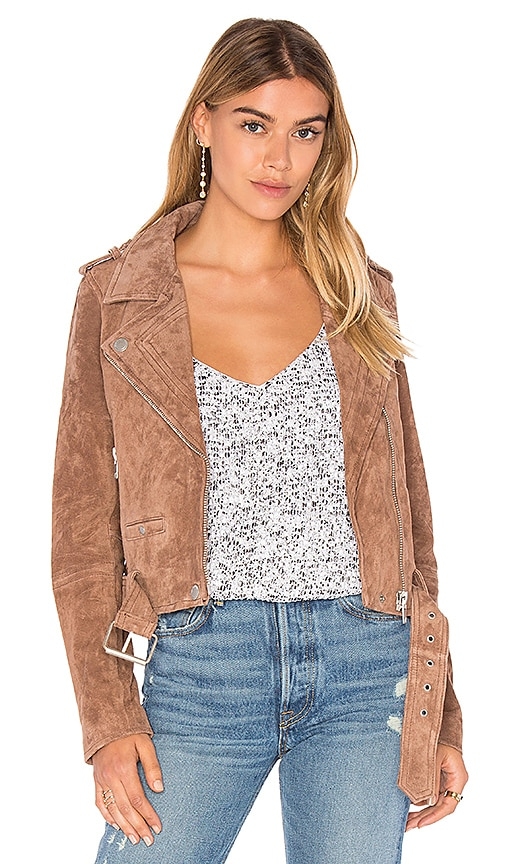 BLANKNYC Suede Moto Jacket in Taupe