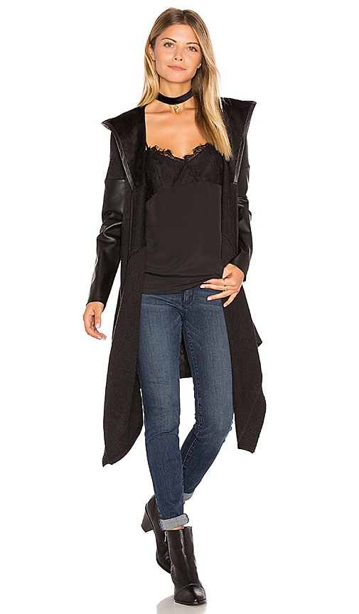 BLANKNYC Hooded Drape Front Coat in Black