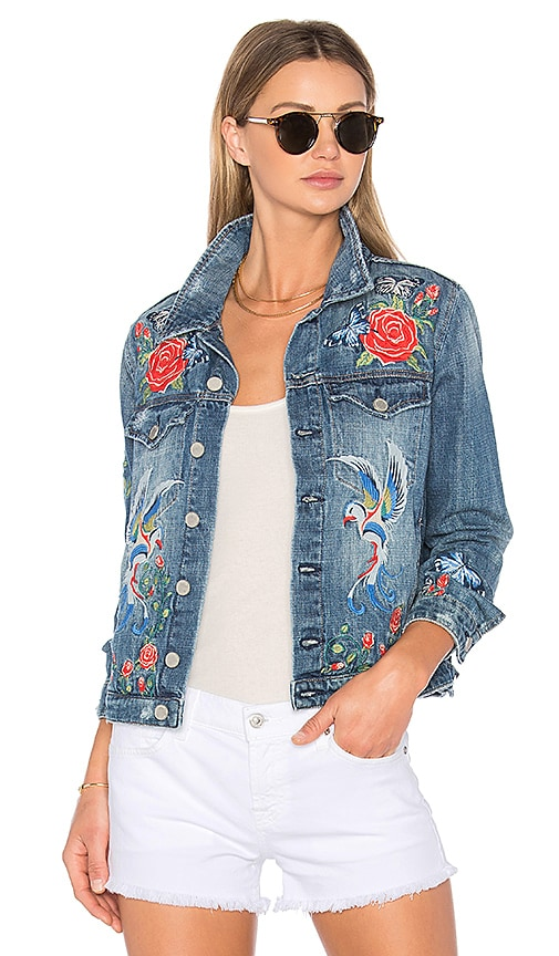 BLANKNYC Embroidered Denim Jacket in Wild Child