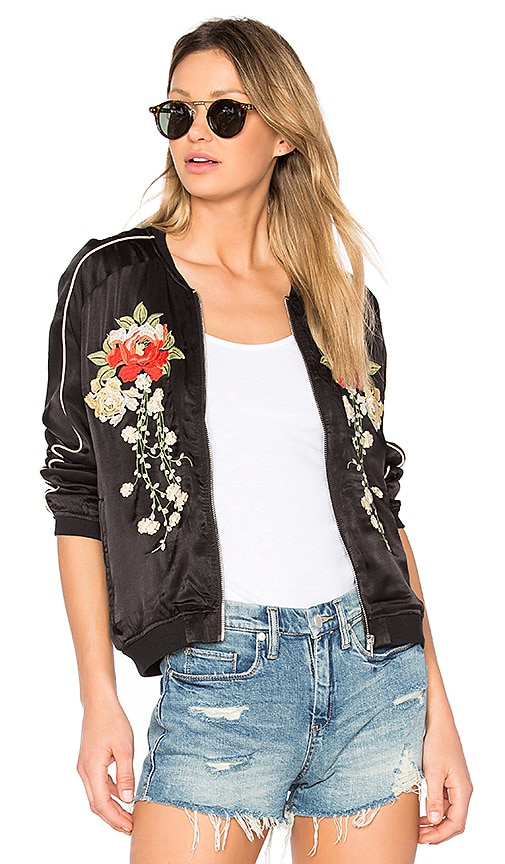 BLANKNYC Embroidered Bomber Jacket in Black