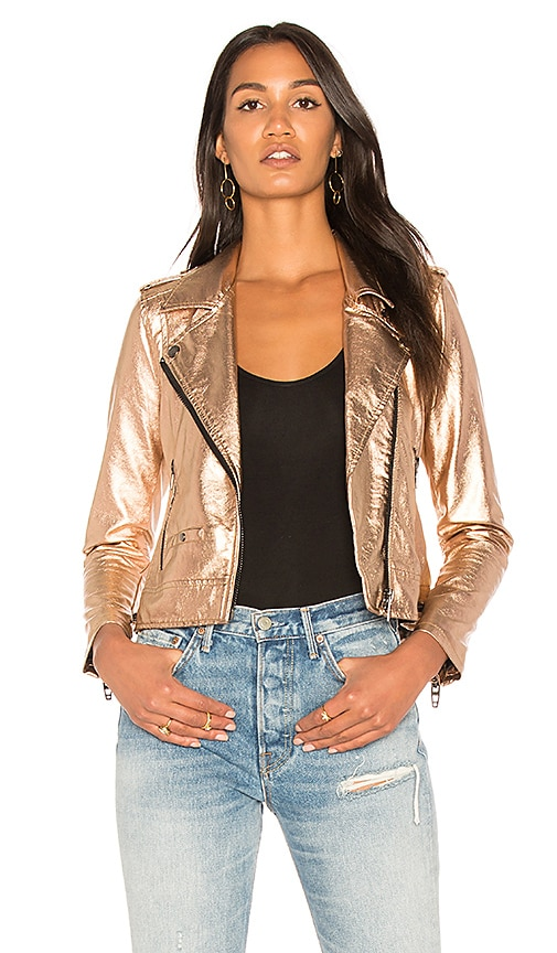 BLANKNYC Metallic Moto Jacket in Metallic Copper