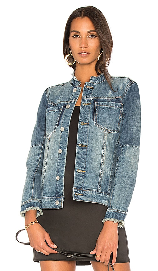 BLANKNYC Collarless Denim Jacket in Moon River