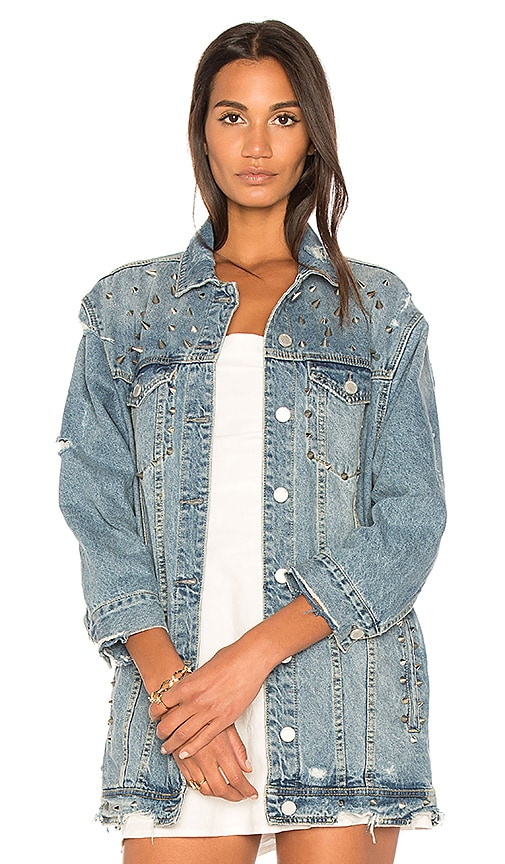 BLANKNYC Distressed Denim Jacket in High Voltage