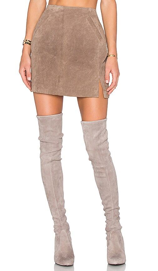 BLANKNYC Suede Skirt in Taupe