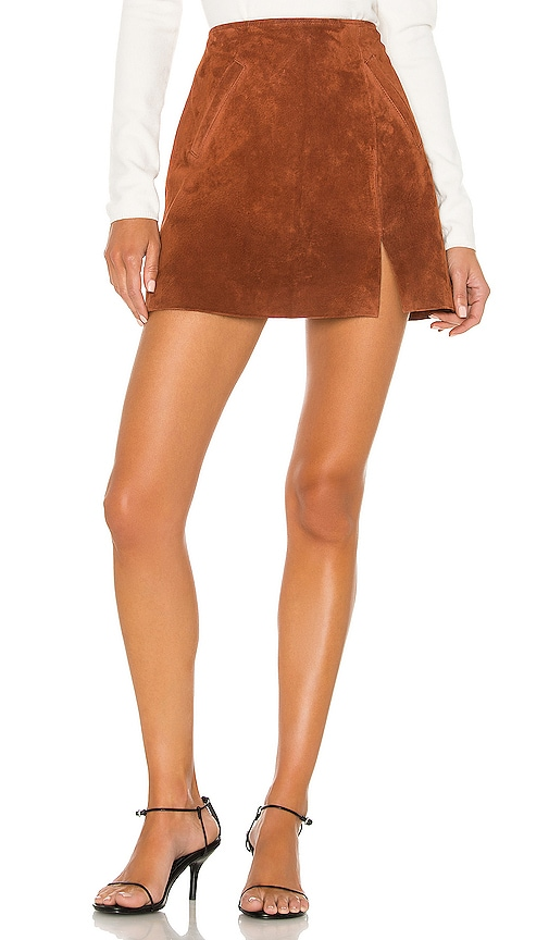 Dried Tobacco Suede Mini Skirt
