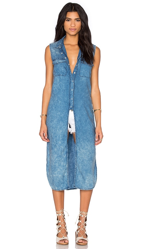BLANKNYC Long Button Up Tank in Blue