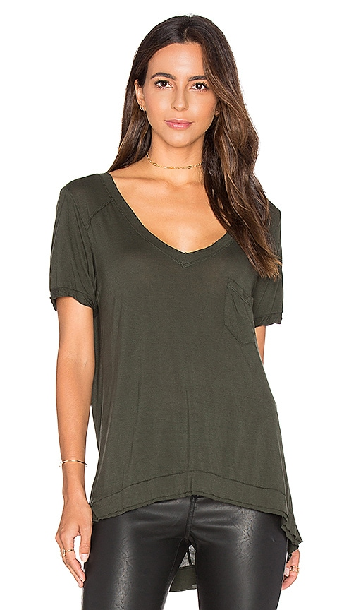 BLANKNYC V Neck Pocket Tee in Olive