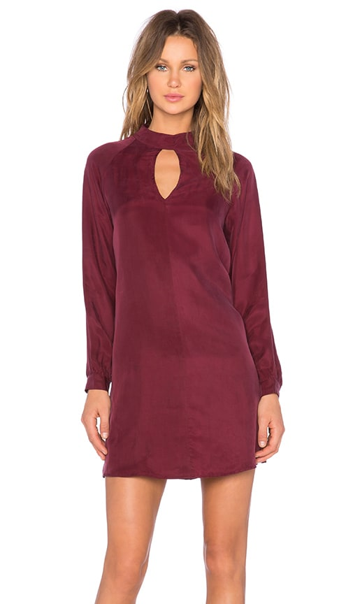 BLAQUE LABEL Cutout Long Sleeve Dress in Wine