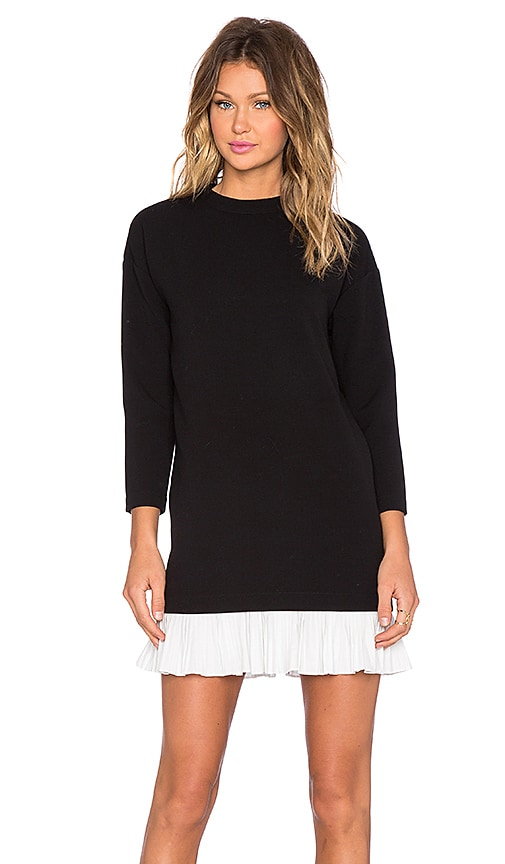 BLAQUE LABEL High Neck Ruffle Hem Dress in Black