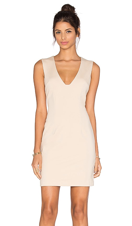 BLAQUE LABEL Plunging Neckline Mini Dress in Beige