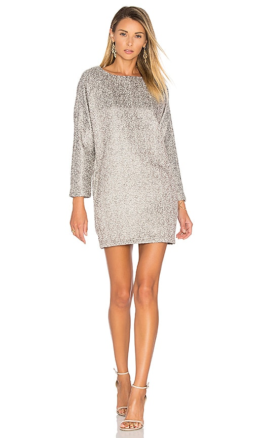 BLAQUE LABEL Boxy Tweed Dress in Metallic Silver