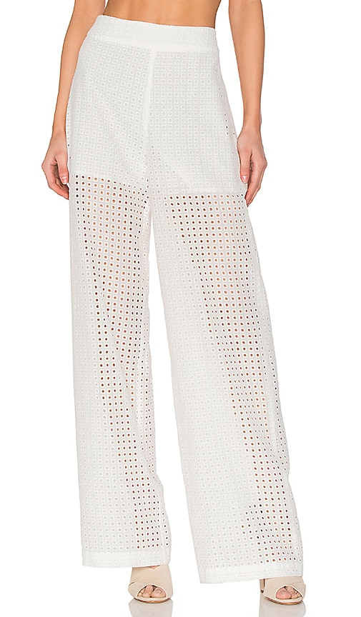 BLAQUE LABEL Eyelet Pant in White