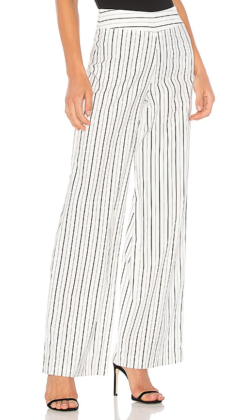 BLAQUE LABEL Striped Wide Leg Pant in White