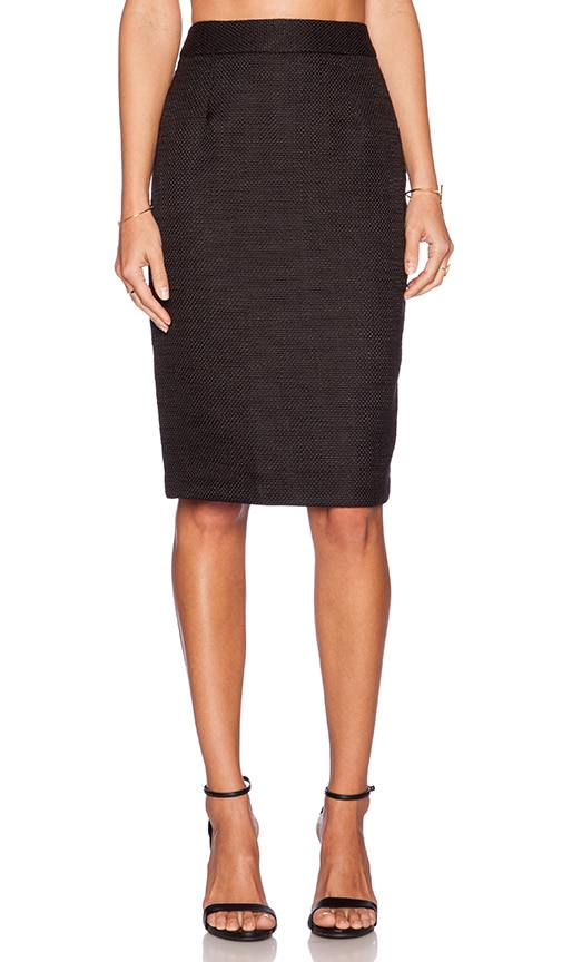 BLAQUE LABEL Woven Pencil Skirt in Black