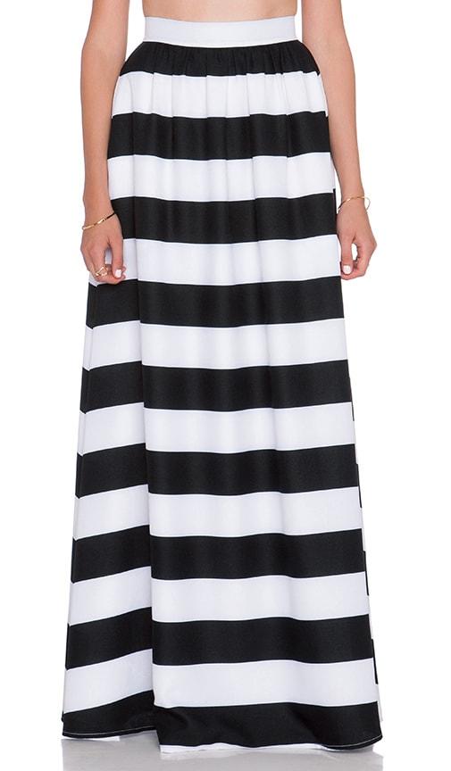 BLAQUE LABEL Striped Maxi Skirt in Black & White