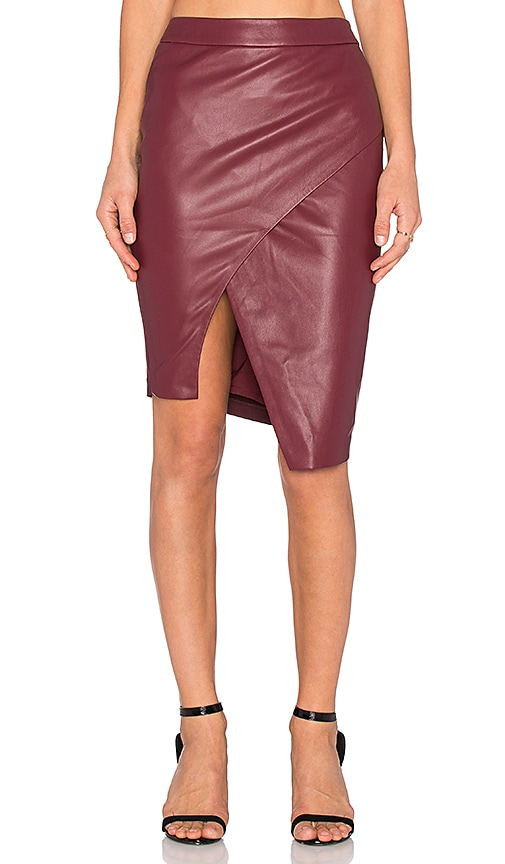 BLAQUE LABEL Asymmetrical Leather Skirt in Maroon