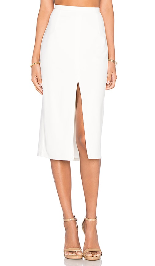 BLAQUE LABEL Center Slit Knit Pencil Skirt in White
