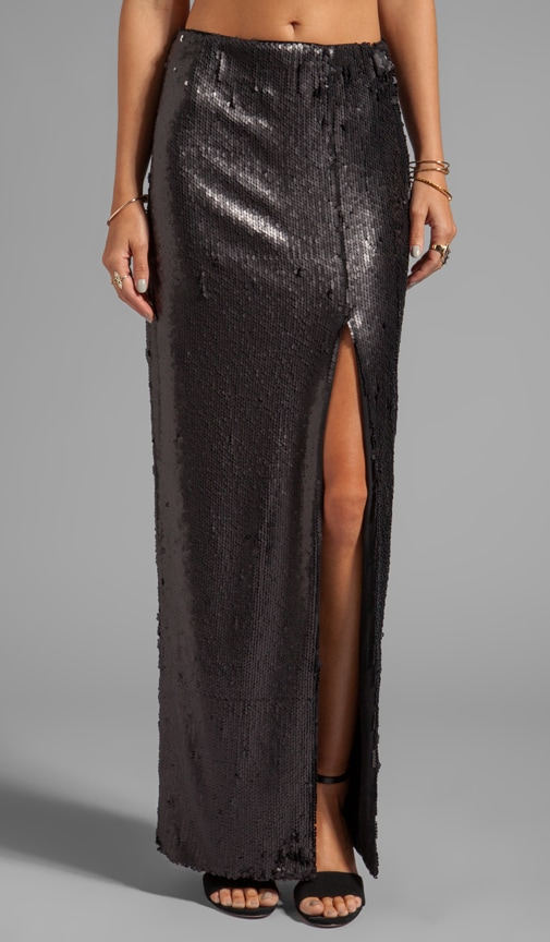 Sequins High Slit Maxi Skirt