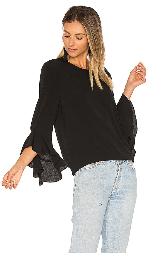 BLAQUE LABEL Ruffle Sleeve Top in Black