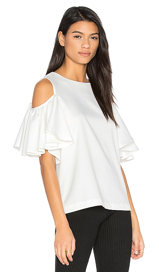 BLAQUE LABEL Cold Shoulder Top in White
