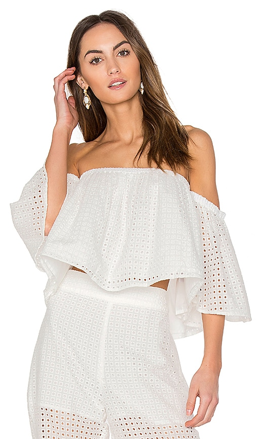 BLAQUE LABEL Eyelet Ruffle Top in White