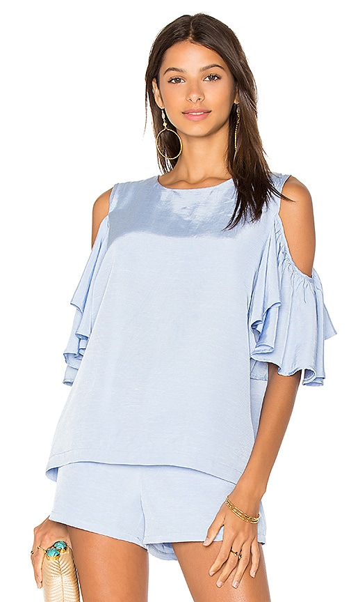 BLAQUE LABEL Cold Shoulder Top in Blue