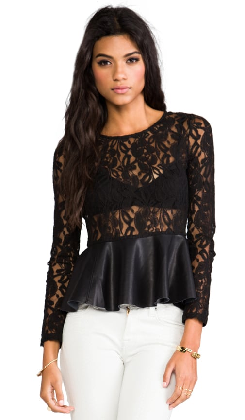 Leatherette Peplum Top