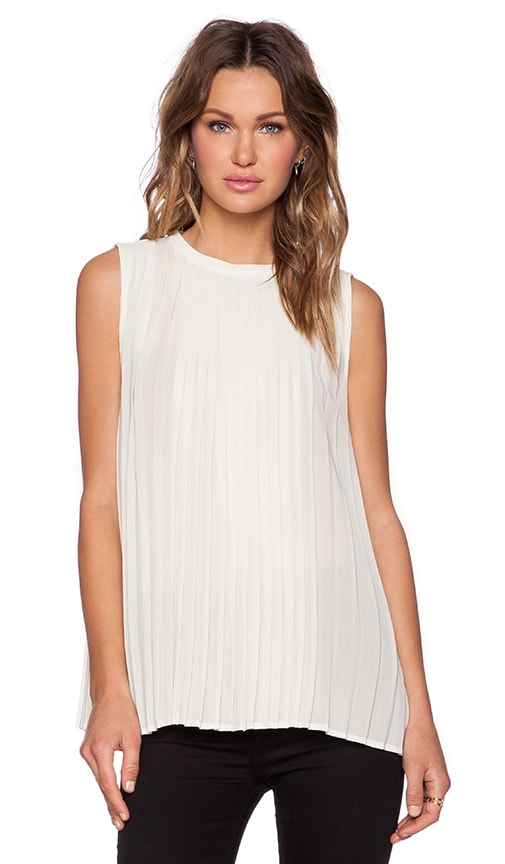 BLAQUE LABEL Sleeveless Pleated Top in Cream